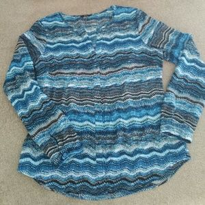 #171 Milano Blue & Black long sleeve button up top